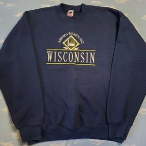 Vintage 90s 80s Wisconsin Embroidered Sweater XL